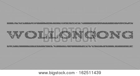 Wollongong watermark stamp. Text tag between horizontal parallel lines with grunge design style. Rubber seal stamp with scratched texture. Vector dark gray color ink imprint on a silver background.