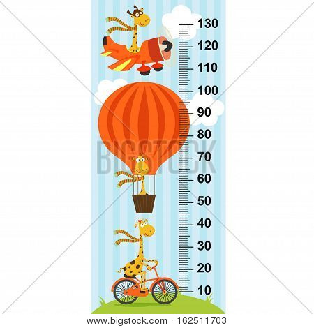 giraffe on transport height measure- vector illustration, eps