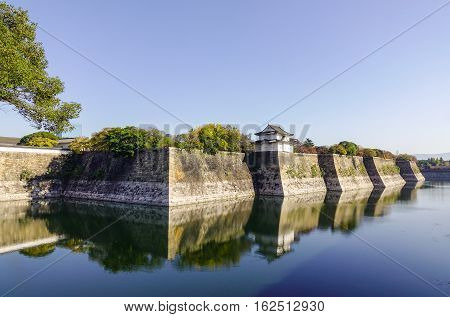 Fortress Wall Of Osaka Castle In Osaka, Japan