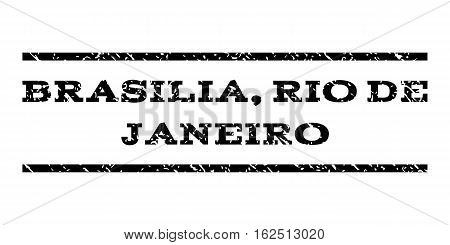Brasilia, Rio De Janeiro watermark stamp. Text tag between horizontal parallel lines with grunge design style. Rubber seal stamp with dirty texture.
