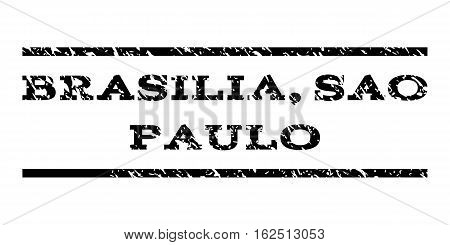 Brasilia, Sao Paulo watermark stamp. Text tag between horizontal parallel lines with grunge design style. Rubber seal stamp with dust texture. Vector black color ink imprint on a white background.