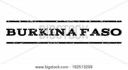 Burkina Faso watermark stamp. Text tag between horizontal parallel lines with grunge design style. Rubber seal stamp with unclean texture. Vector black color ink imprint on a white background.