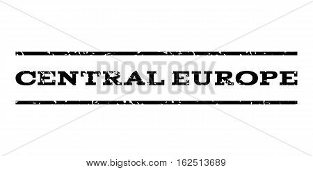 Central Europe watermark stamp. Text tag between horizontal parallel lines with grunge design style. Rubber seal stamp with unclean texture. Vector black color ink imprint on a white background.