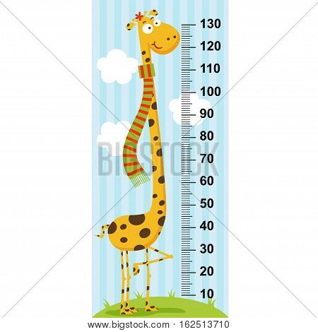 long neck giraffe height measure - vector illustration, eps