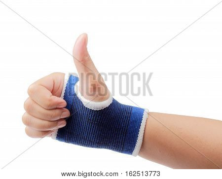 Right hand wrapped in bandage palm support isolated on white background clipping path.