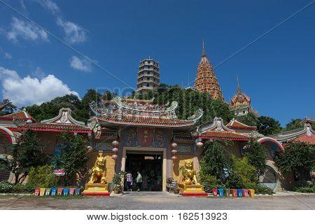 Kanchanaburi, Thailand - August 21, 2016: On Wat tham seua temple & Wat tham khao noi temple, Kanchanaburi Province, Thailand, Religion, Buddhism