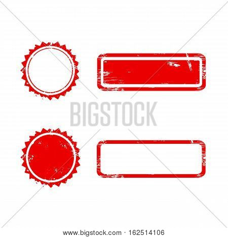 Vector Stamp without text. Set of Stamps . Red Stamps . Grunge Rubber Texture Stamp
