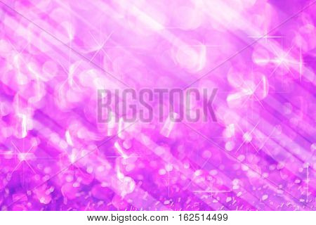 Violet lights festive blurry and star on white bokeh abstract christmas twinkled bright background.