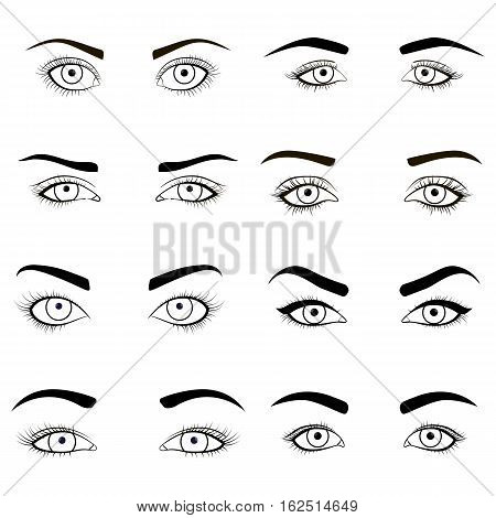 Set of female eyes and brows black image . Vector illustration for health glamour design with beautifully fashion eyelashes. Open woman eyes for makeup.