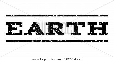 Earth watermark stamp. Text caption between horizontal parallel lines with grunge design style. Rubber seal stamp with scratched texture. Vector black color ink imprint on a white background.