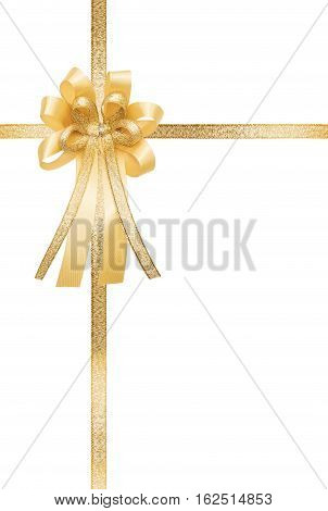 Golden ribbon and bow, isolated on white background, vertical gift box wrap
