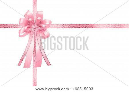 Pink ribbon and bow, isolated on white background, vertical gift box wrap