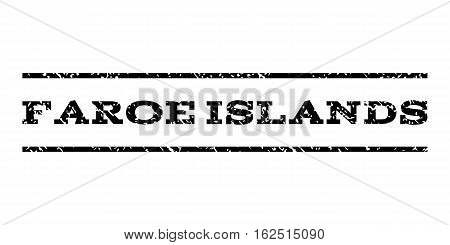 Faroe Islands watermark stamp. Text caption between horizontal parallel lines with grunge design style. Rubber seal stamp with dirty texture. Vector black color ink imprint on a white background.