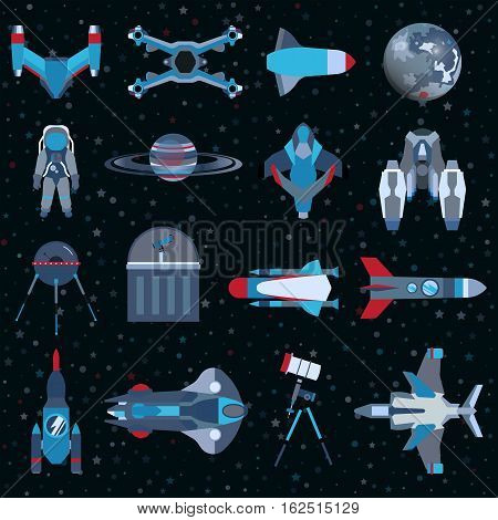 Spacecrafts flat icons equipment set. Cosmonaut space suit symbol. Vector spaceship collection eps10