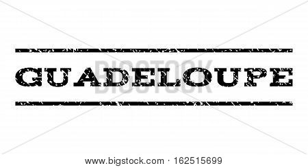 Guadeloupe watermark stamp. Text caption between horizontal parallel lines with grunge design style. Rubber seal stamp with unclean texture. Vector black color ink imprint on a white background.