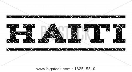 Haiti watermark stamp. Text tag between horizontal parallel lines with grunge design style. Rubber seal stamp with dust texture. Vector black color ink imprint on a white background.