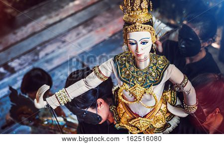 Thai Land Puppet Theater. Traditional Thai Khon puppet spectacle at Klong Bang Luang Thailand Putting the snippet shares held.