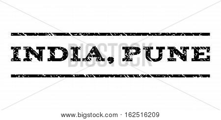 India, Pune watermark stamp. Text tag between horizontal parallel lines with grunge design style. Rubber seal stamp with dust texture. Vector black color ink imprint on a white background.