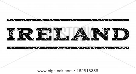 Ireland watermark stamp. Text caption between horizontal parallel lines with grunge design style. Rubber seal stamp with dirty texture. Vector black color ink imprint on a white background.