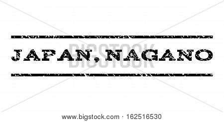 Japan, Nagano watermark stamp. Text tag between horizontal parallel lines with grunge design style. Rubber seal stamp with scratched texture. Vector black color ink imprint on a white background.