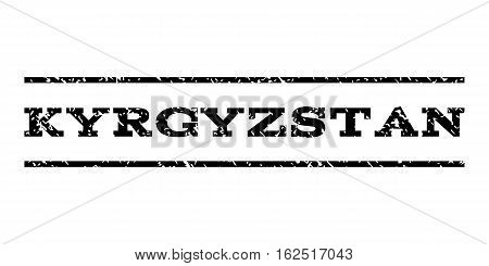 Kyrgyzstan watermark stamp. Text tag between horizontal parallel lines with grunge design style. Rubber seal stamp with unclean texture. Vector black color ink imprint on a white background.