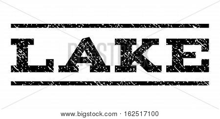 Lake watermark stamp. Text tag between horizontal parallel lines with grunge design style. Rubber seal stamp with dirty texture. Vector black color ink imprint on a white background.