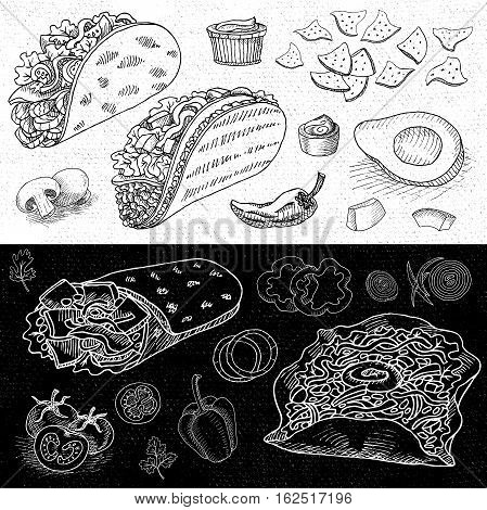 Set of chalk hand drawn, in sketch style, food and spices, black and white chalkboard background. Fast food. Mexican food. Taco, burrito, ingredients, mushrooms, tomato, pepper, onion, salad
