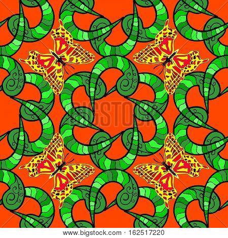 Mandalas background. Orange green with Butterfly. Raster illustration.