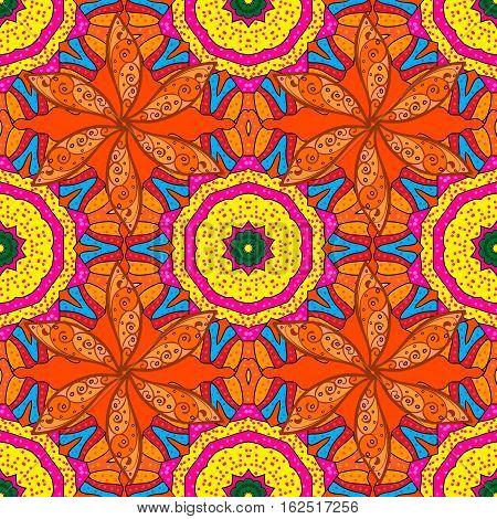 Mandalas background. Red orange yellow. Petals. Raster illustration.