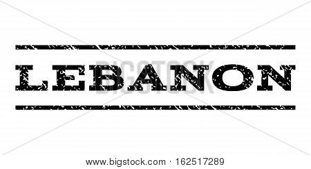 Lebanon watermark stamp. Text caption between horizontal parallel lines with grunge design style. Rubber seal stamp with scratched texture. Vector black color ink imprint on a white background.