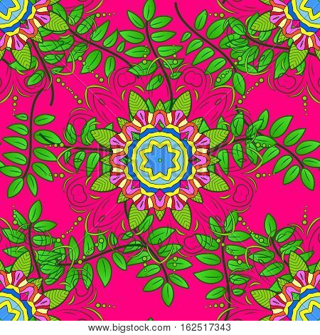 Watercolor tropical palm leaves seamless pattern. Raster illustration.