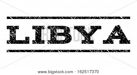 Libya watermark stamp. Text tag between horizontal parallel lines with grunge design style. Rubber seal stamp with dirty texture. Vector black color ink imprint on a white background.