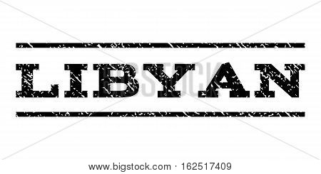 Libyan watermark stamp. Text caption between horizontal parallel lines with grunge design style. Rubber seal stamp with unclean texture. Vector black color ink imprint on a white background.