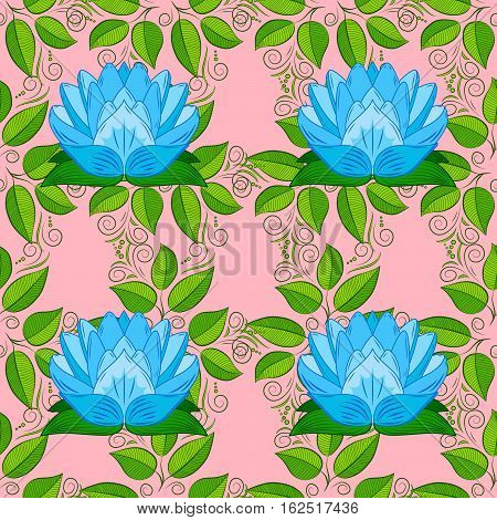 Oriental pattern of stylized blue lotus flowers and curved leaves on light pink  background. Raster seamless repeat.