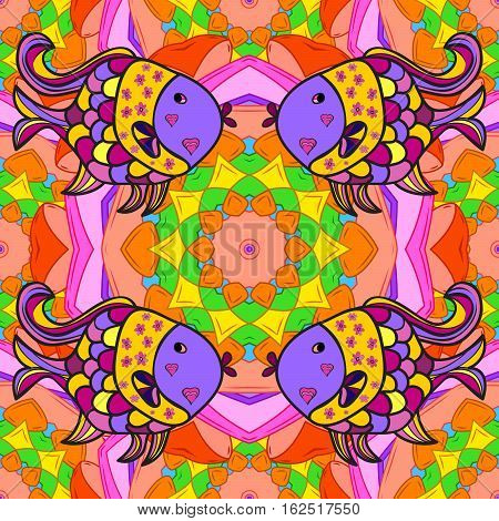 Mandalas background. Red pink lilac with Fish. Raster illustration.