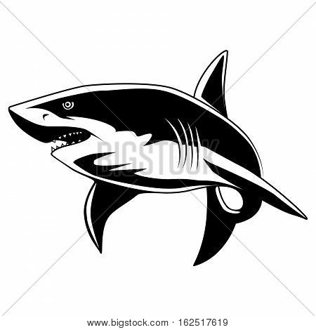 Shark mascot. Great white shark sign logo on a white background.