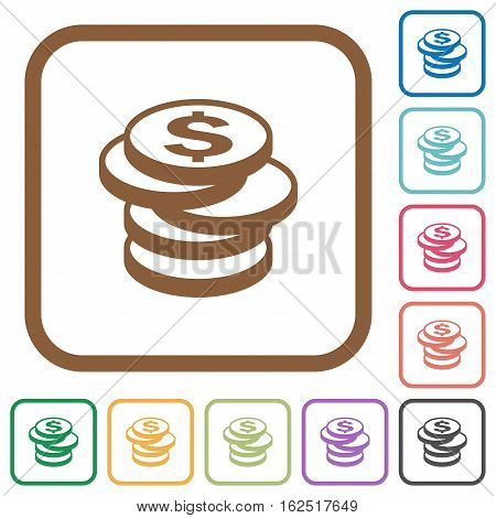 Dollar coins simple icons in color rounded square frames on white background