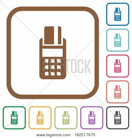 POS terminal simple icons in color rounded square frames on white background