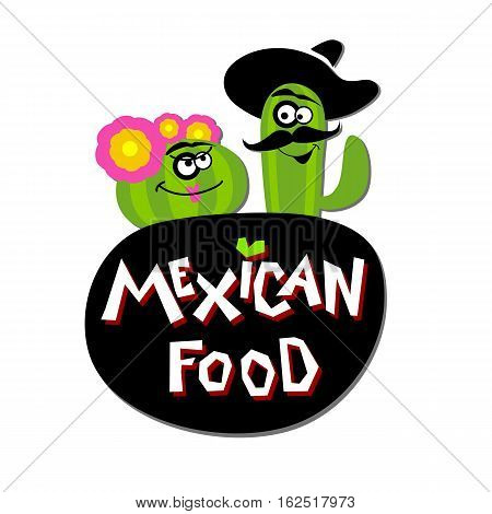 Fast food. Mexican food logo. Ingredients, nachos, cactus, flower, hat, guacamole tomato pepper onion salad red