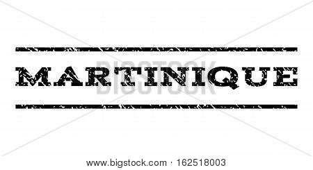 Martinique watermark stamp. Text caption between horizontal parallel lines with grunge design style. Rubber seal stamp with dirty texture. Vector black color ink imprint on a white background.
