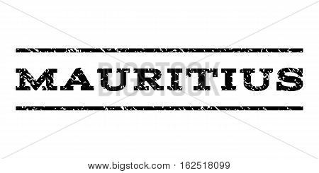 Mauritius watermark stamp. Text tag between horizontal parallel lines with grunge design style. Rubber seal stamp with unclean texture. Vector black color ink imprint on a white background.