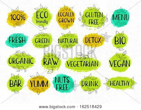 Set organic labels, lettering design, calligraphy logotype, leaf, set of stickers, green labels Eco, bio, locally grown, natural, detox, healthy, menu, gluten free Hand drawn vector illustration