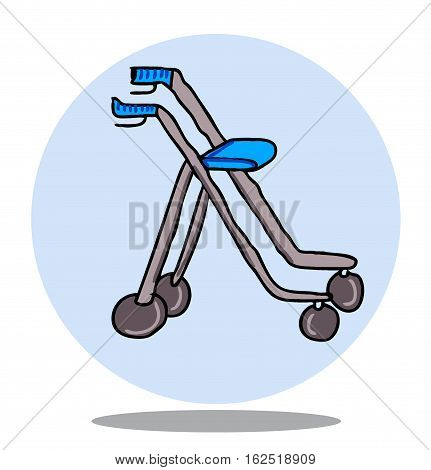 Hand drawn illustration of a rollator with circle background