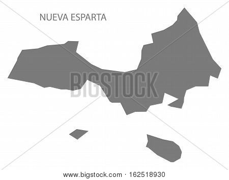 Nueva Esparta Venezuela Map in grey federal state silhouette illustration