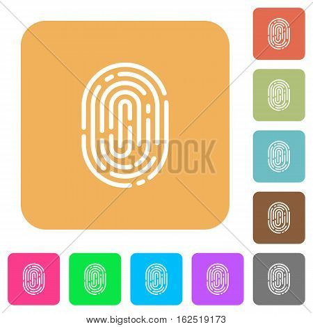 Fingerprint icons on rounded square vivid color backgrounds.