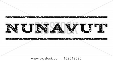Nunavut watermark stamp. Text caption between horizontal parallel lines with grunge design style. Rubber seal stamp with unclean texture. Vector black color ink imprint on a white background.