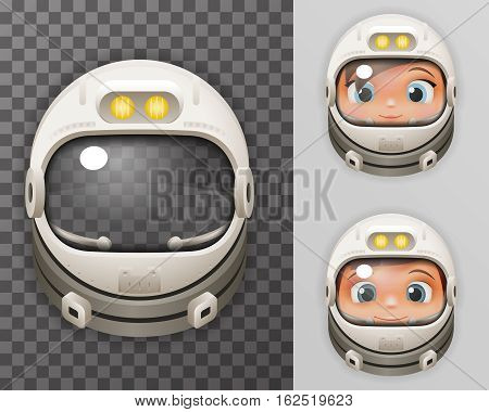 Cosmonaut Helmet Realistic Astronaut Spaceman Boy Girl Tantamareska Poster Transperent Glass Background Icon Template Mock Up Design Vector Illustration