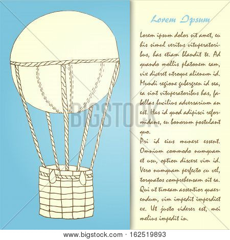 Hand drawn air ballon card template. Stock vector illustaration for postcards tourist promo ads in vintage retro style.