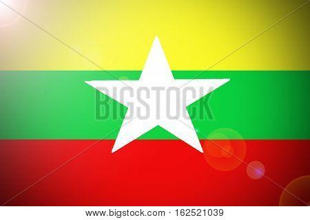 Myanmar flag ,3D Myanmar national flag illustration symbol, Burma