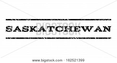 Saskatchewan watermark stamp. Text tag between horizontal parallel lines with grunge design style. Rubber seal stamp with scratched texture. Vector black color ink imprint on a white background.